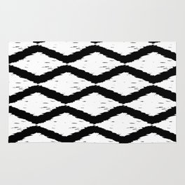 Black and White Tribal Ikat Pattern Rug