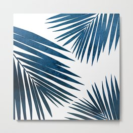 Indigo Palm Fronds Metal Print