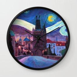 Starry Night in Prague - Van Gogh Inspirations on Charles Bridge Wall Clock