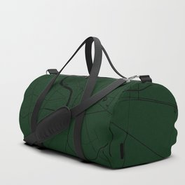 Bangkok Thailand Minimal Street Map - Forest Green and Black Duffle Bag