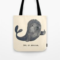 budi satria kwan Tote Bags featuring Seal Of Approval by Picomodi