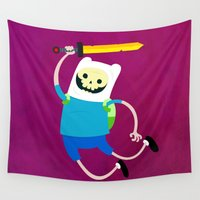 bmo Wall Tapestries featuring Finn the skull by ThiagoEgg