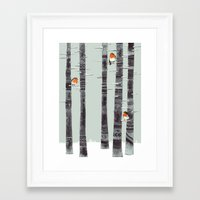 snow Framed Art Prints featuring Robin Trees by Sandra Dieckmann