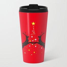 Christmas with reindeer - Red Travel Mug