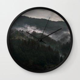 Foggy morning it Serbian mountains Wall Clock