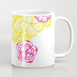 28. Colourful Pink and Yellow Flower in Henna World Coffee Mug