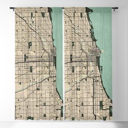 Chicago City Map of the United States - Vintage Blackout Curtain