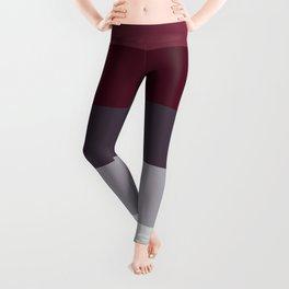 scandinavian moody winter fashion dark red plum burgundy grey stripe Leggings
