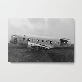 Downed Plane In Iceland Metal Print