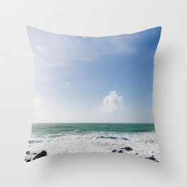 Beautiful Blue sky day over the north Cornish Coast. Throw Pillow