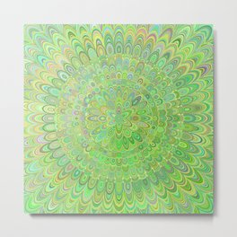Green Floral Feather Mandala Metal Print