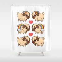 asexual Shower Curtains featuring Puglie Pride by Puglie Pug