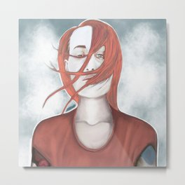 redhead girl with tatoo Metal Print