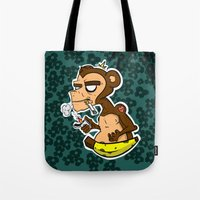 monkey island Tote Bags featuring Groovy Monkey by Groovy Gangster