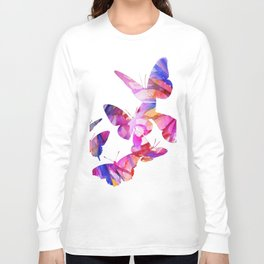 Pink Butterflies Long Sleeve T-shirt