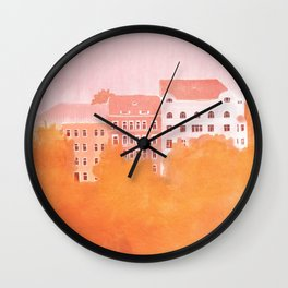 Blush Pink and Apricot Buildings in Prague Wall Clock