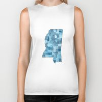 blueprint Biker Tanks featuring Mississippi Counties Blueprint watercolor map by Anne E. McGraw