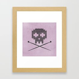 Knitted Skull (Black on Pink) Framed Art Print
