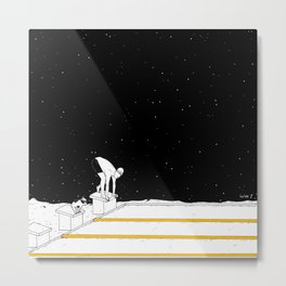 Moon Swimming Competition Metal Print