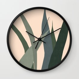 Cactus garden on pink background Wall Clock