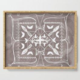 Square Mandala Butterfly Floral Rustic Line Drawing Boho Spirituality Yoga Focus Divine Meditation Serving Tray