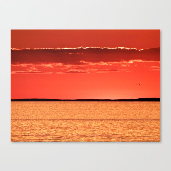Orange Sky and Sea Canvas Print