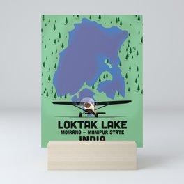 Loktak Lake Manipur state Indian travel poster. Mini Art Print