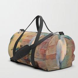 Snowy Egret Sunrise Duffle Bag