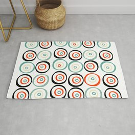 Midcentury Modern Coloful Abstract Dots and Circles Pattern Rug
