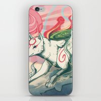 okami iPhone & iPod Skins featuring Okami Amaterasu by Owlapin
