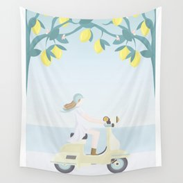 Scooter ride in the sun  past lemons and lemon trees Wall Tapestry