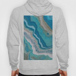 Turquoise River, Abstract Fluid Acrylic Painting Hoody