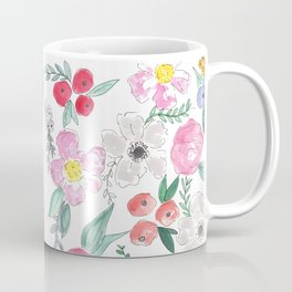 Floral Peony and Rose Watercolor Print  Coffee Mug