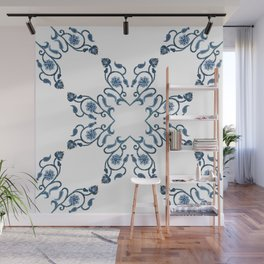Blue Floral Heart Tile Wall Mural