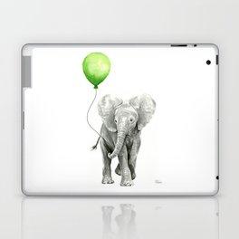 Baby Elephant with Green Balloon Laptop & iPad Skin