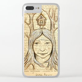 Baba Yaga on an old book page Clear iPhone Case