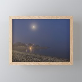 Moon cutting though the fog at Pavilion Beach in Gloucester Framed Mini Art Print