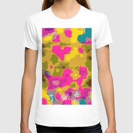 psychedelic geometric painting texture abstract in pink yellow brown blue T-shirt