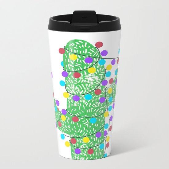 Festive Cactus Metal Travel Mug