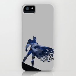 Bat man  Dark blue hero Knight comic digital brush iPhone Case