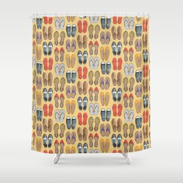 Hard choice // shoes on yellow background Shower Curtain