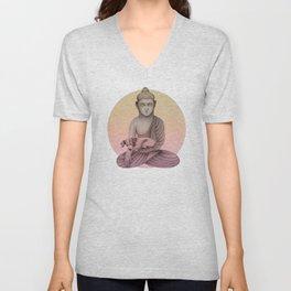 Buddha with dog5 Unisex V-Neck