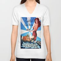 cocktail V-neck T-shirts featuring Cocktail Waitress by Sandi Sharp