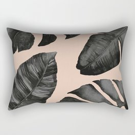 Classic Tropical Palm Leaves Powder Pink and Gold Rectangular Pillow