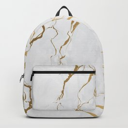 Metallic gold and white marbled   Backpack