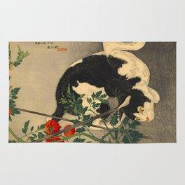 Shotei Takahashi Black & White Cat Tomato Garden Japanese Woodblock Print Rug