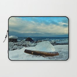Spring Comes to the Beach in Ice that glows Blue Laptop Sleeve