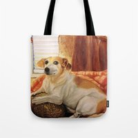 jack russell Tote Bags featuring Jack Russell by Good Artitude