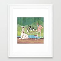 mary poppins Framed Art Prints featuring Mary Poppins by Lesley Vamos