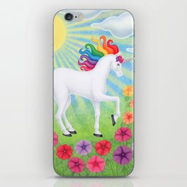 daydreamer (rainbow unicorn), sunshine, petunias iPhone Skin